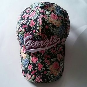 Girls Georgia Cap Hat Flowers pink blue black